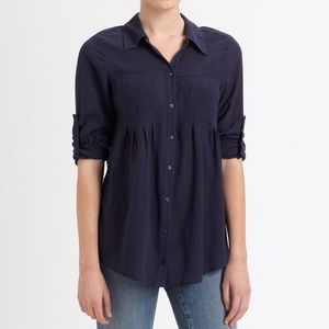 Joie Pinot Crepe Button Down Shirt Size M Blue